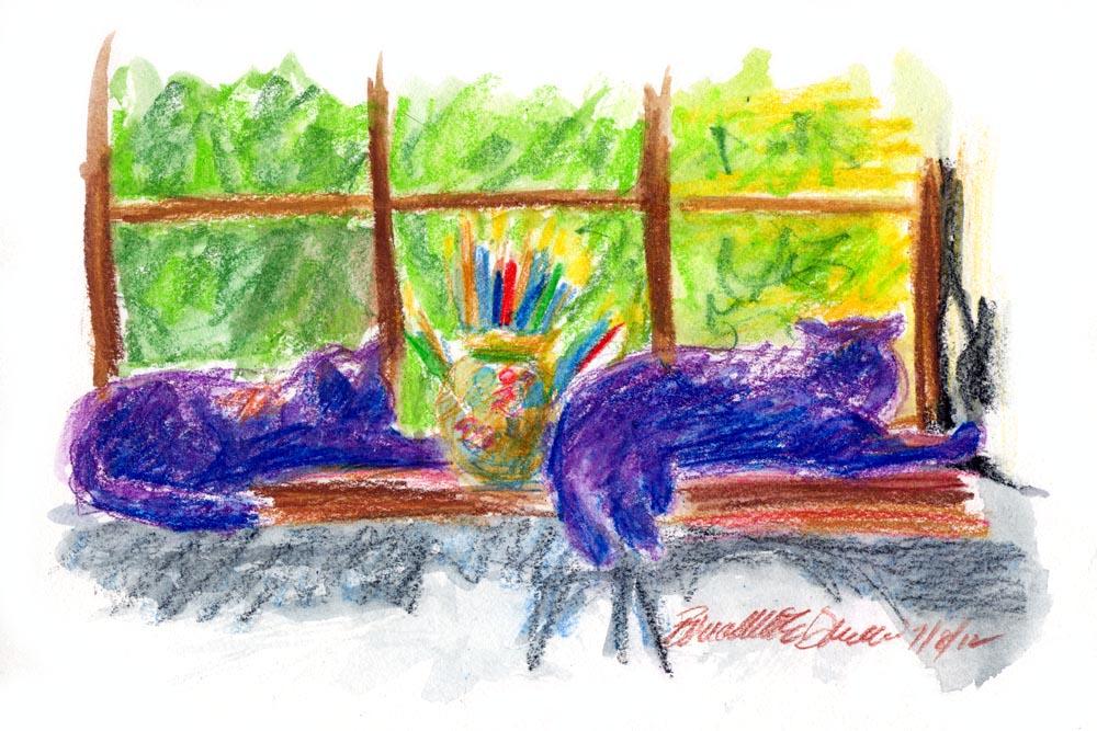 Studio Guardians, watercolor pencil, 7 x 10 © Bernadette E. Kazmarski