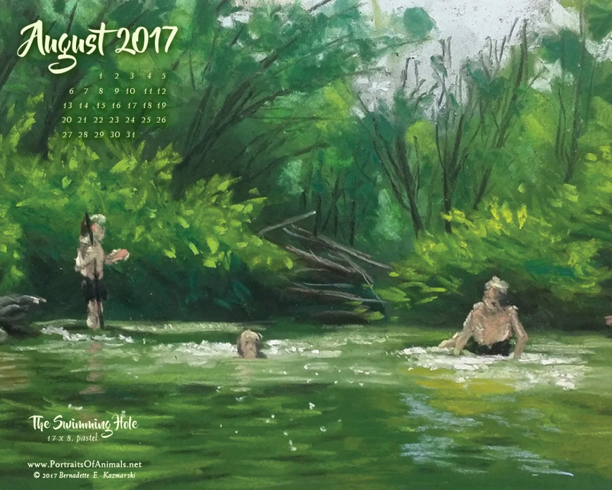 August Nature Desktop Calendar: The Swimming Hole