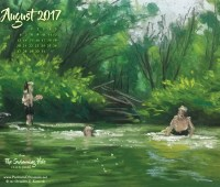 August Nature Art Desktop Calendar Wallpaper