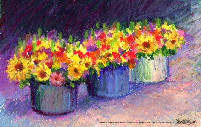 Flowers For Sale, Oil Pastel, 6 x 10 © Bernadette E. Kazmarski