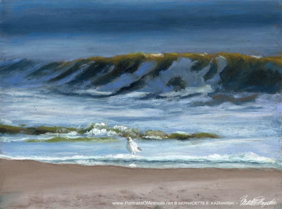 I Want To Be Where That Gull Is Standing, Pastel, 9 x 12 © Bernadette E. Kazmarski