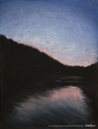 Sunset Cruise, pastel on black pastel paper, 9 x 12 © Bernadette E. Kazmarski