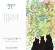 October Feline Desktop Calendar Wallpaper