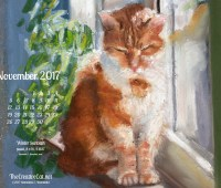 November Feline Desktop Calendar Wallpaper