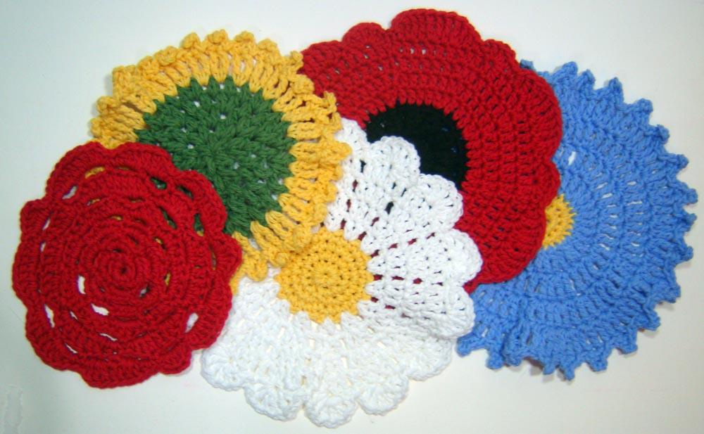 Crocheted Flower Washcloths
