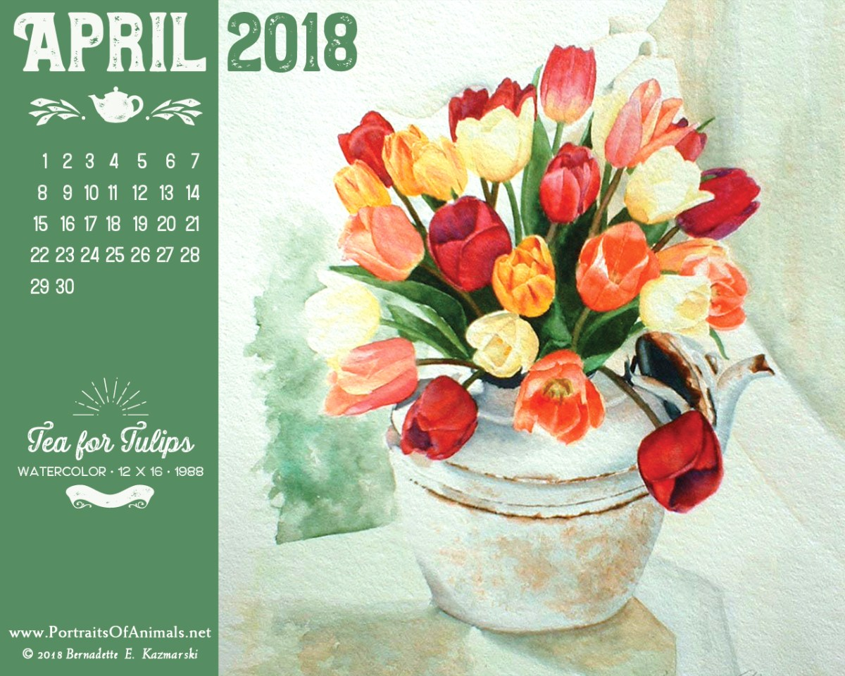 April Nature Desktop Calendar: Tea for Tulips