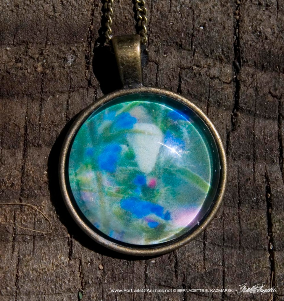 Cabochon Pendant, Hyssop and Cabbage Butterfly