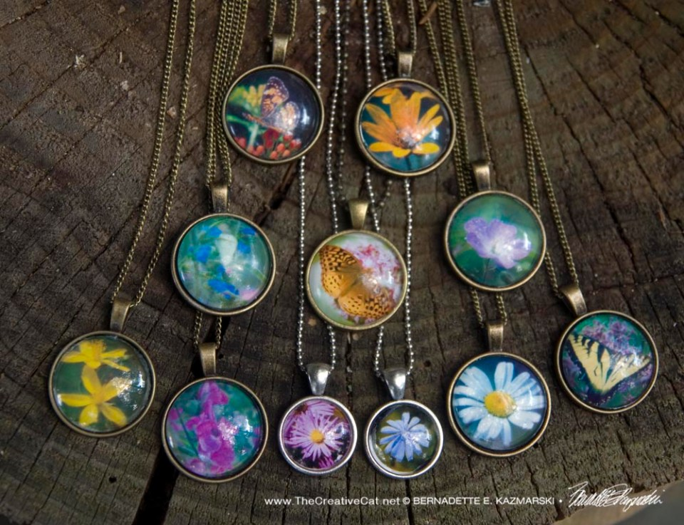Wildflowers Butterflies of the Panhandle Trail Cabochon Pendants