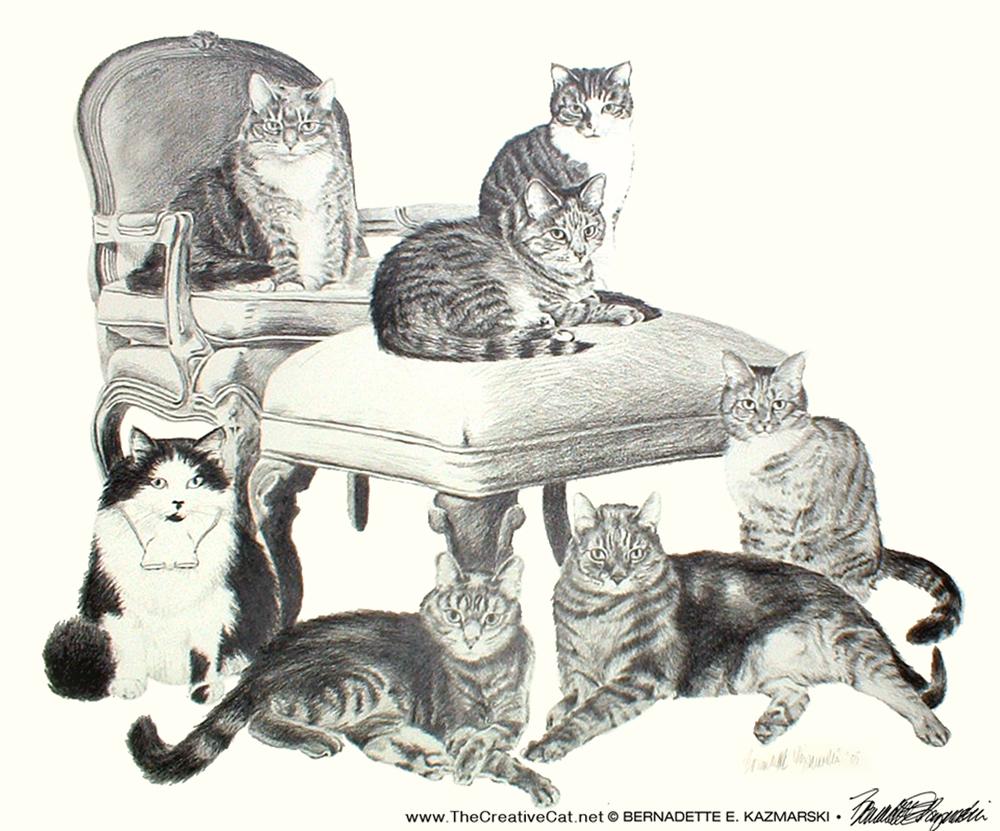 Igor, Matthew, Zoe, Biscotti, Angel, Noah and Toast, 18 x 24, pencil, 2005 © Bernadette E. Kazmarski