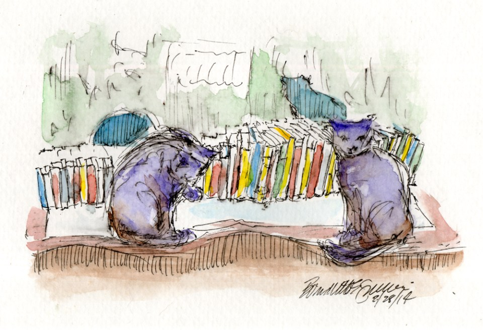 """""""Evening in the Cat Book Library"""", 5"""" x 7"""", ink and watercolor © Bernadette E. Kazmarski"""