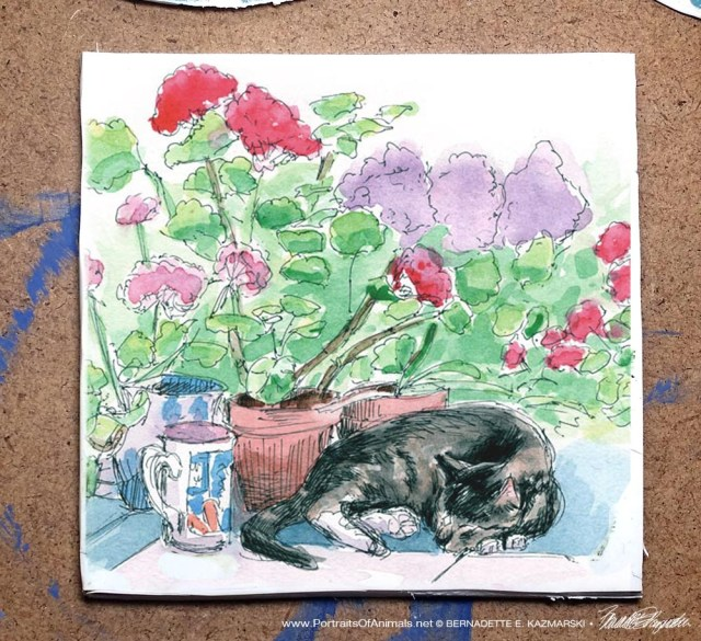 Stanley With Geraniums tile.