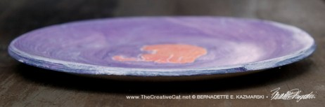 "Bath 6"" Decorative Dish, Peach and Purple, side"