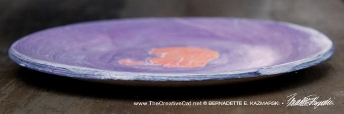 "Bath 6"" Decorative Dish, Peach and Purple, side"