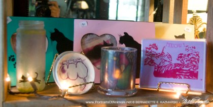 Pastel feline inspirations with feline frames, hand printed Valentine cards, votives and coasters.