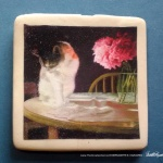 "Peaches and Peonies 2"" square magnet"