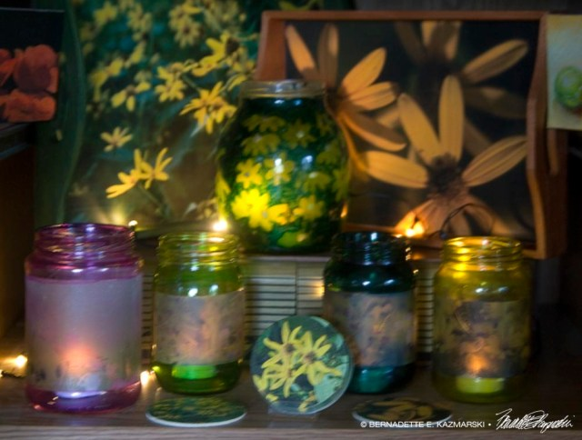 Display of votives and other flower and wildlife gift items.