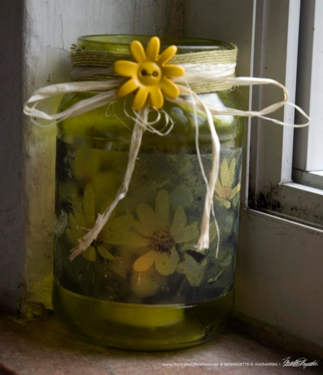 Dancing Woodland Sunflowers decorated votive