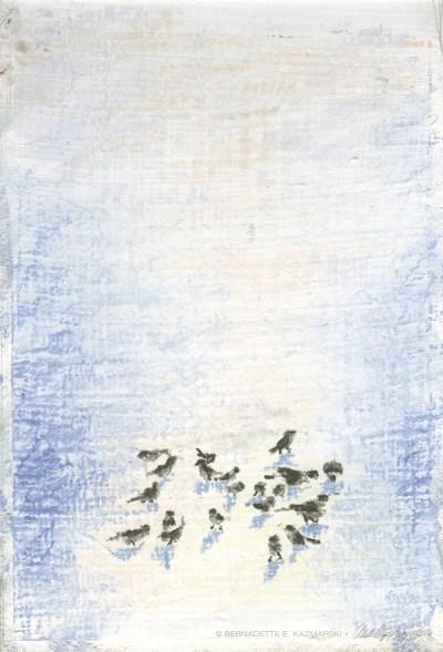 pastel of birds in snow