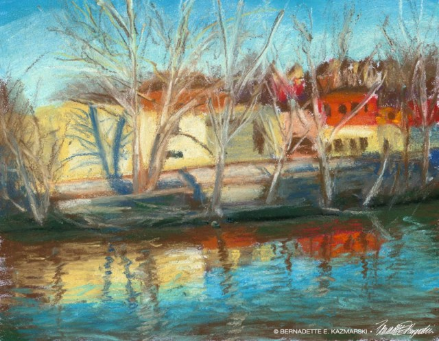 Main Street Reflections, 5 x 7, pastel, 2005 © Bernadette E. Kazmarski