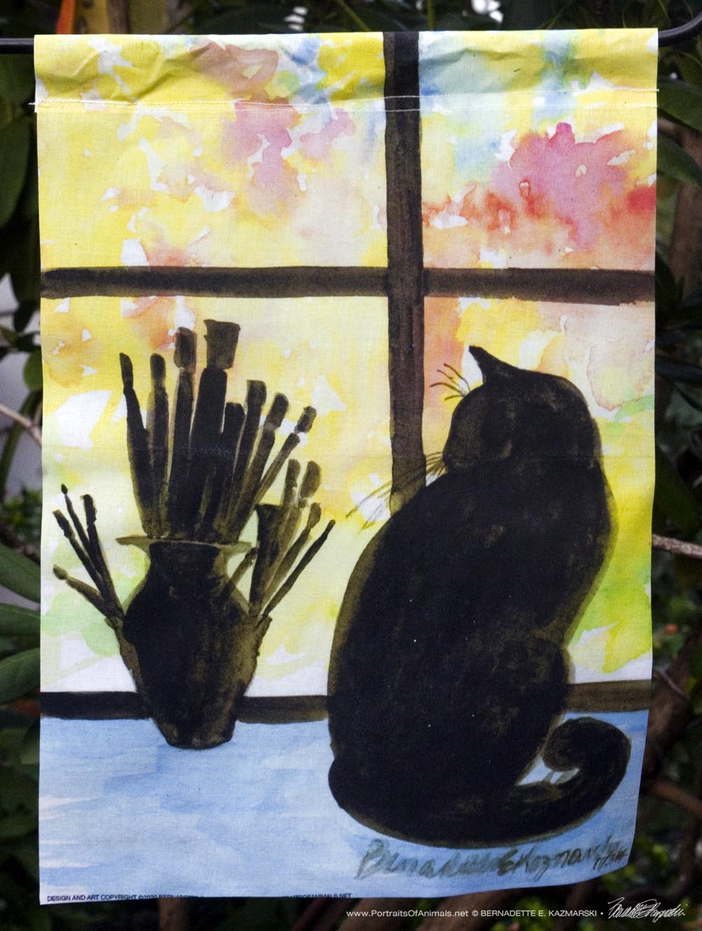 Studio Window, Autumn Garden Flag