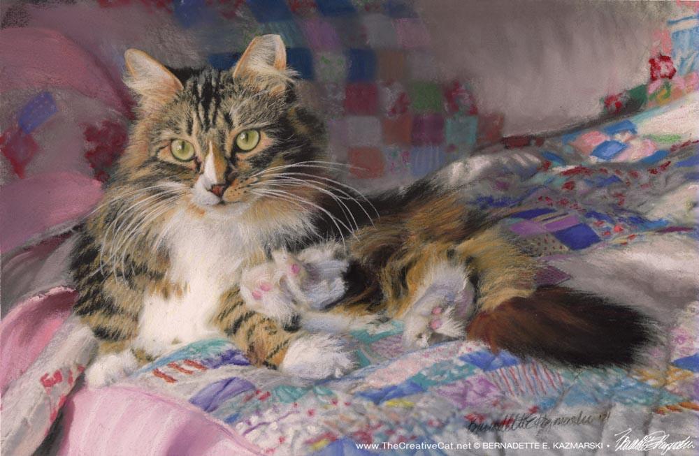 """""""Bath, Interrupted"""", pastel, 13"""" x 10"""" © Bernadette E. Kazmarski"""