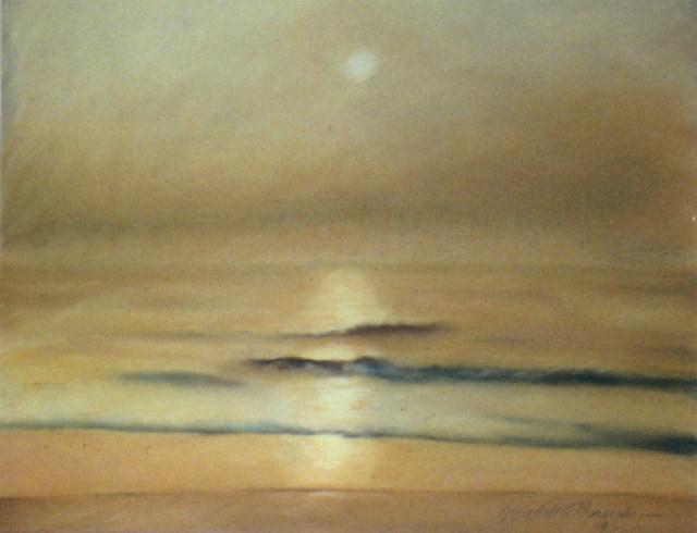 pastel of ocean sunrise