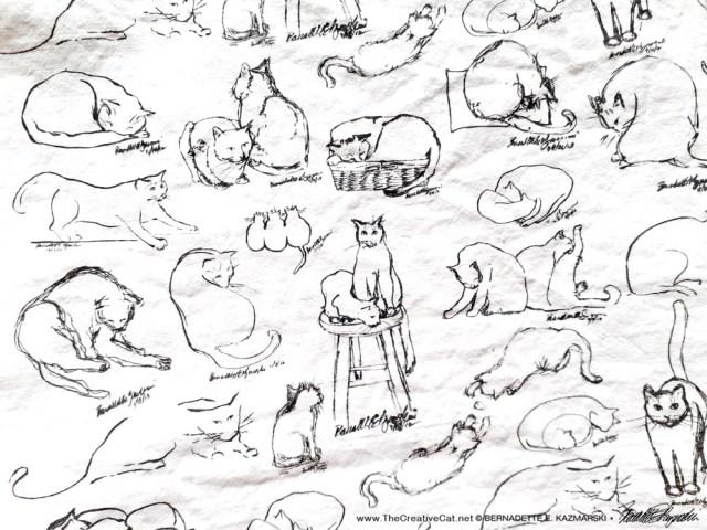 cat pattern handprinted dishtowel