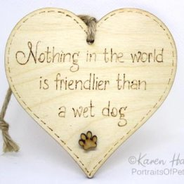 'Nothing in the world is friendlier than a wet dog' plaque
