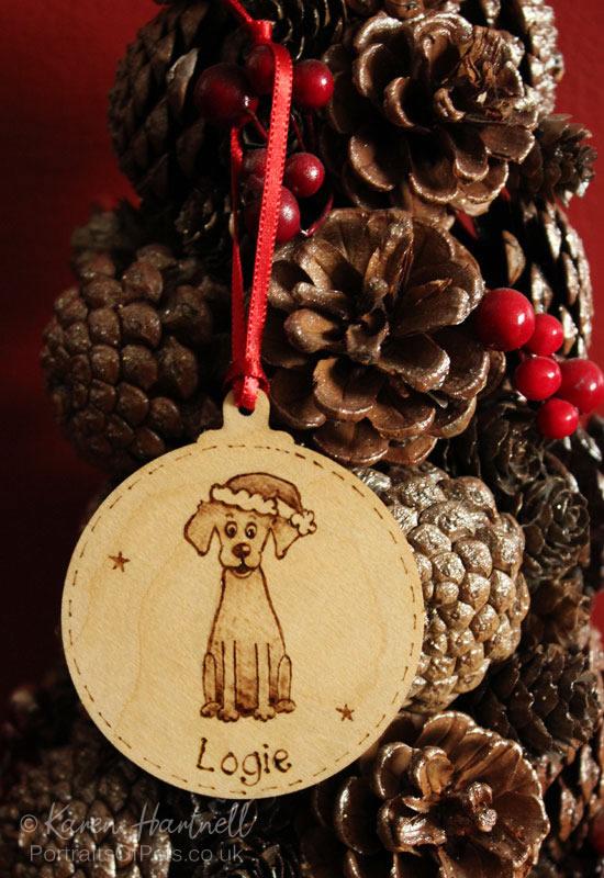 Christmas hanging bauble, wood burn