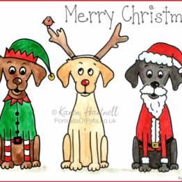 Cartoon Christmas Labradors
