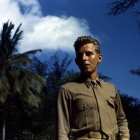 WWII Color Photo - USMC Marine SBD Bilot Walter A. Huff Poses in Hawaii - Vibrant Color