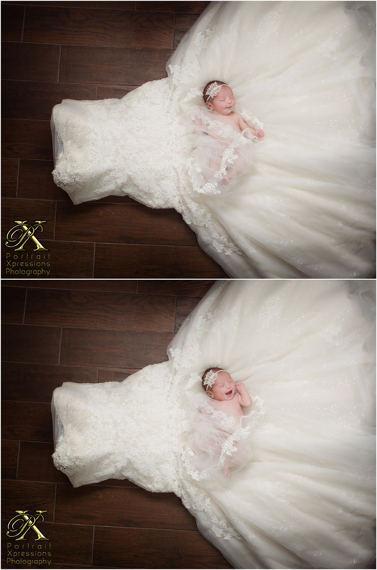 baby on mom's wedding dress