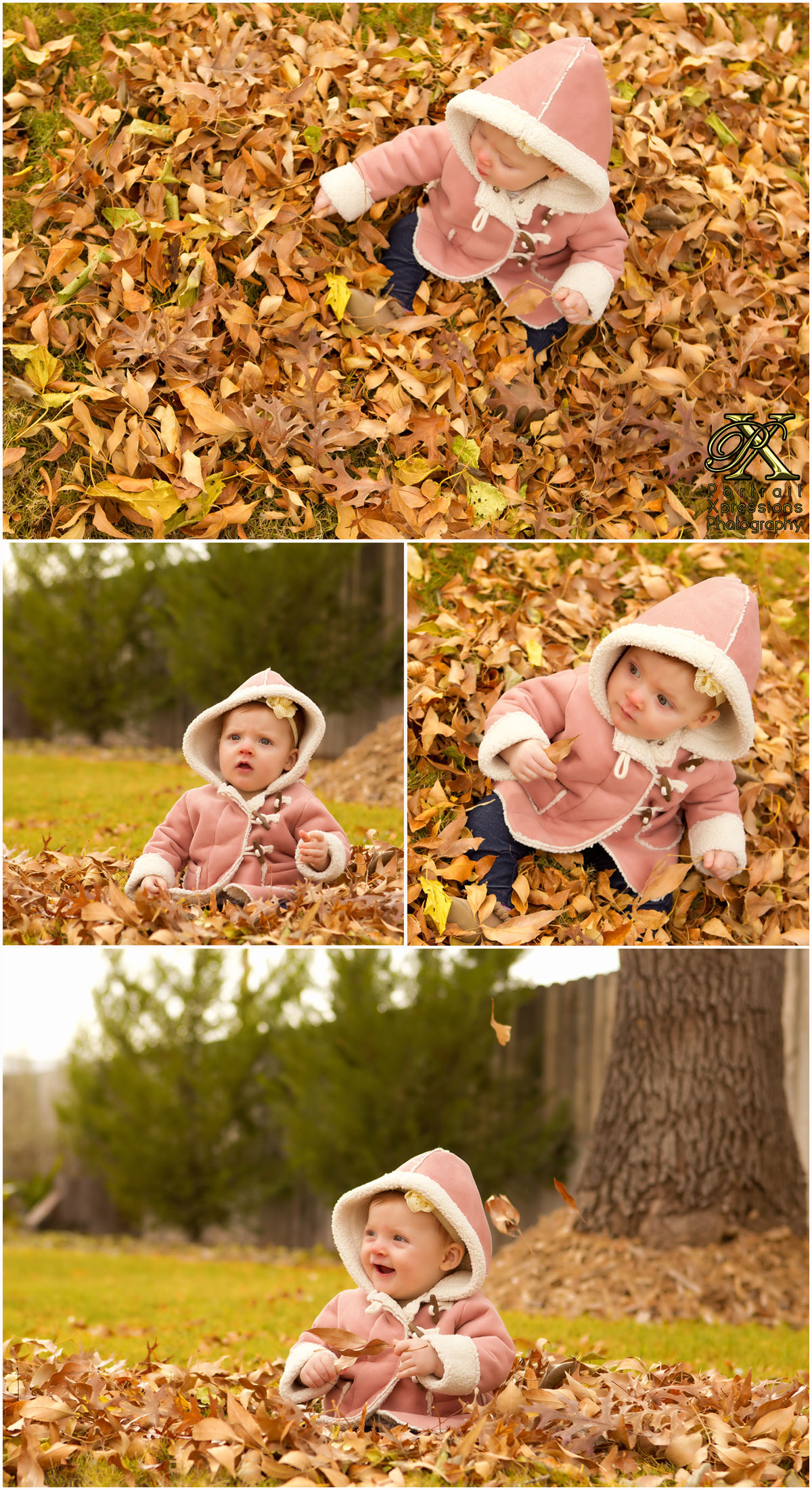 baby joley playing in fall leaves