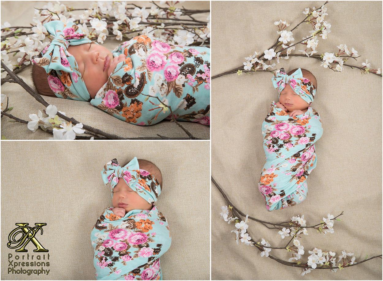 newborn baby Kora with flowers