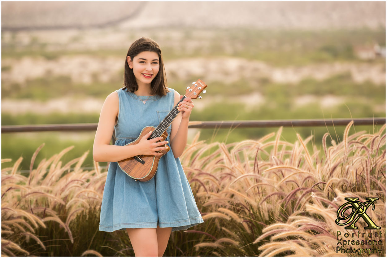 high school senior photography with ukulele in El Paso Texas