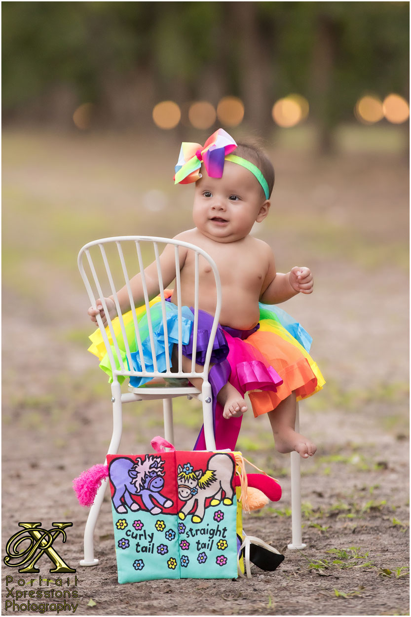 baby with colorful tutu