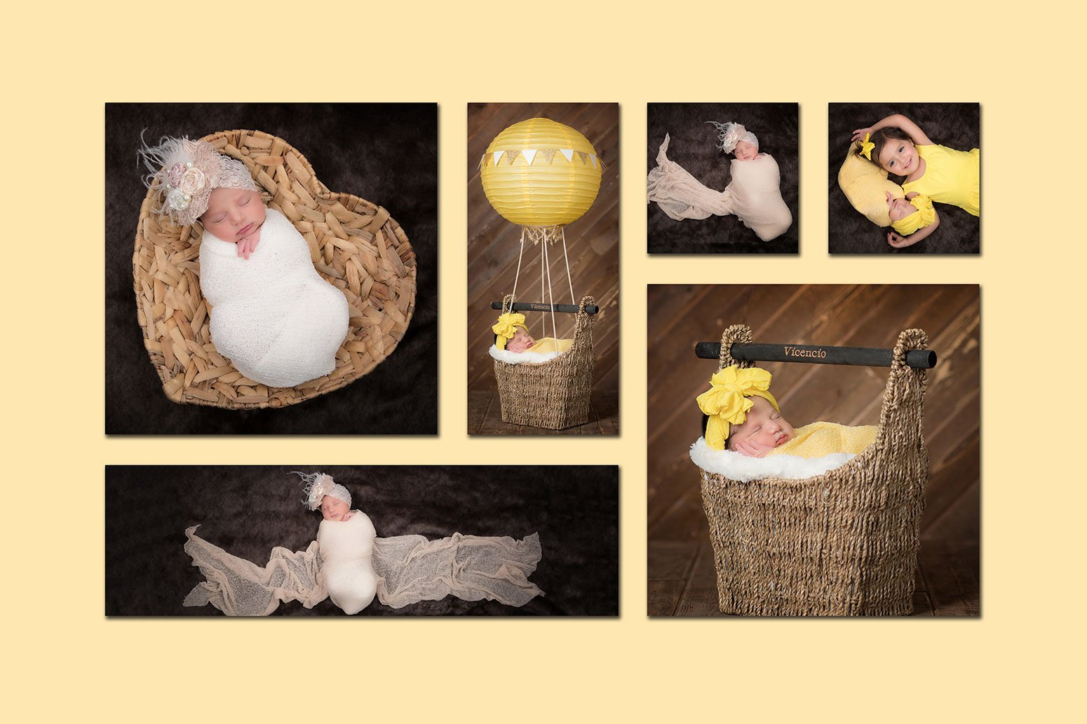 Newborn baby wall collage product from Portrait Xpressions