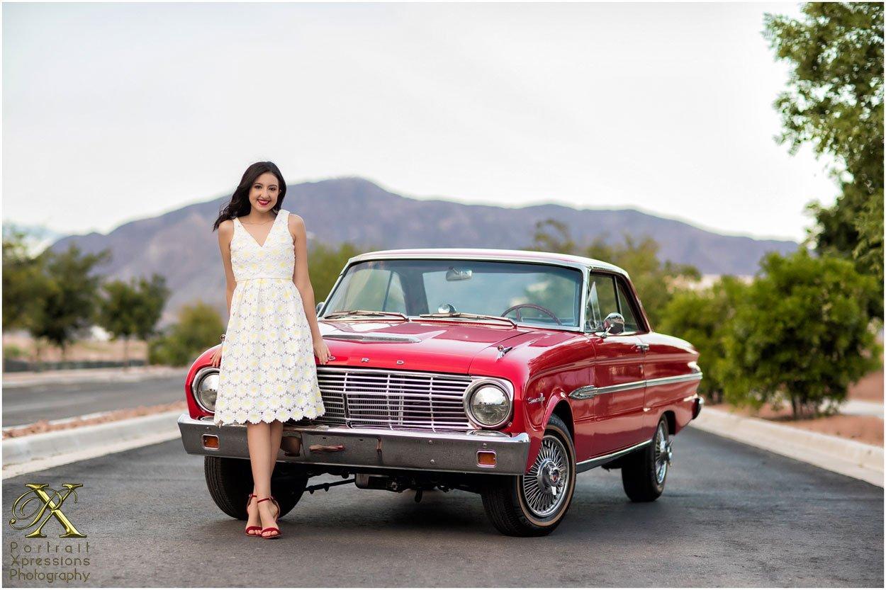 high school senior with classic car
