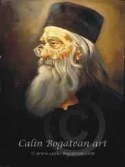 Părintele Iustin Tehnica: ulei, pictură pe pânză Dimensiune: 50 x 70 x 2 cm.