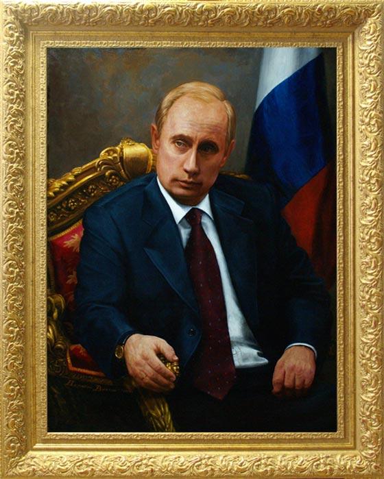 Купить портрет Путина на фоне флага в кресле