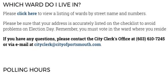 City of Portsmouth voter info 2017