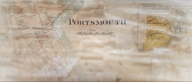 Historic paper map of Portsmouth, Rhode Island used as website background.