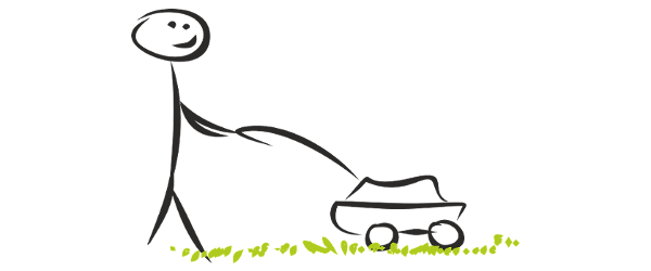 Simple black marker drawing of stick figure pushing a lawn mower over grass.