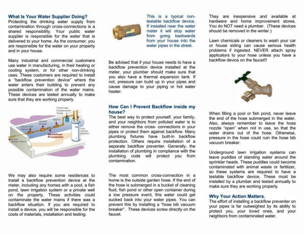 Backflow prevention brochure from RIDOH Page 2