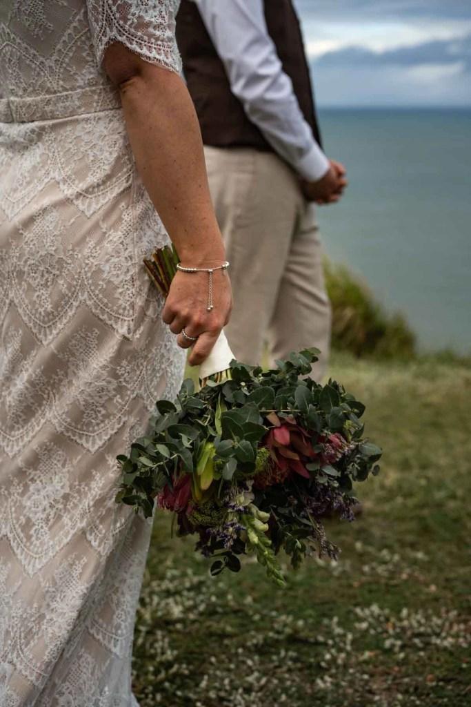 Bridal bouquet on clifftop