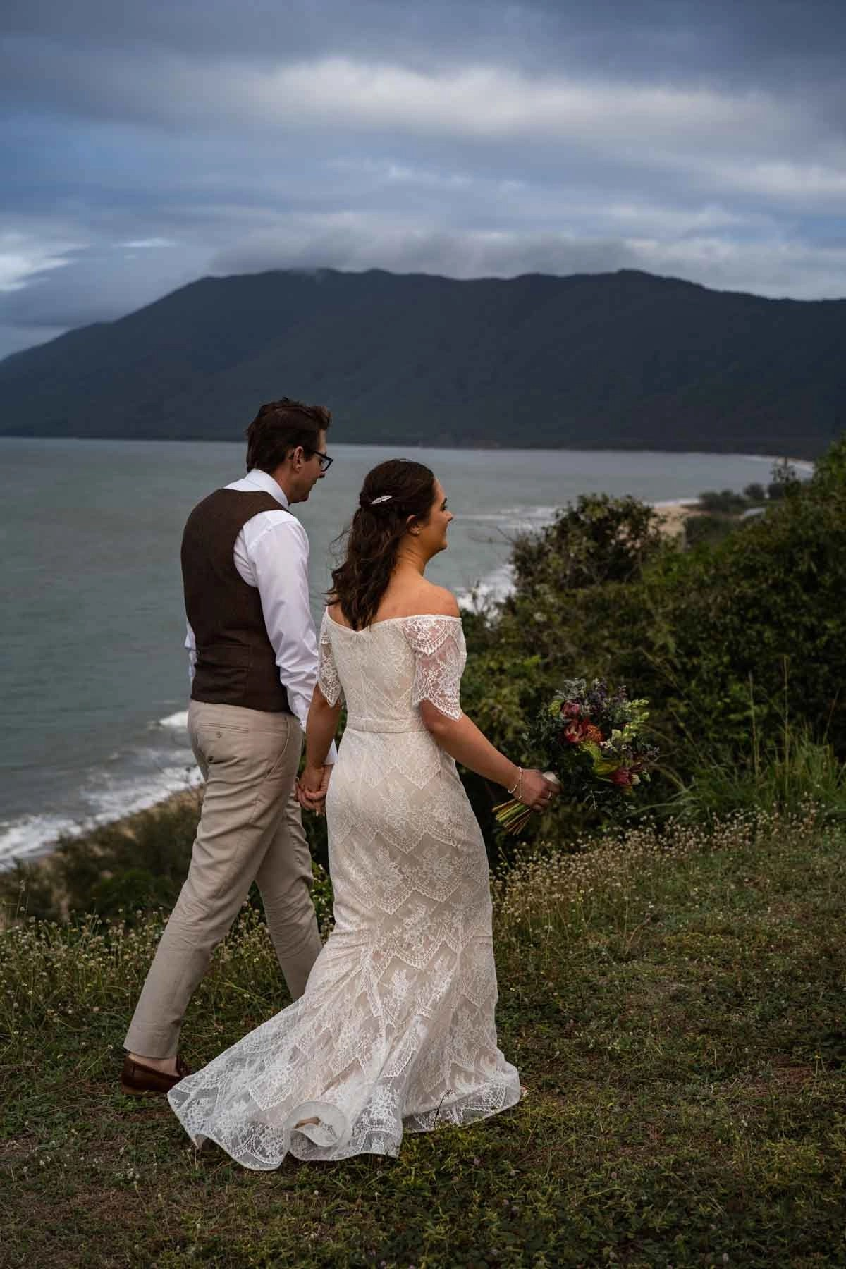 Landscape environmental portrait bride and groom