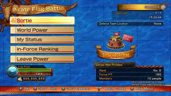 O menu do modo Pirate Flag