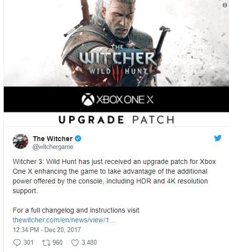 The Witcher 3 receberá suporte para o Xbox One X em breve