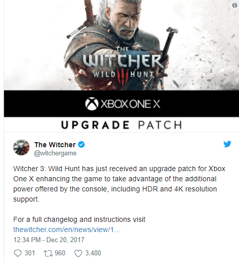 The Witcher 3 actualizado para a Xbox One X