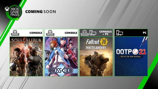Xbox Game Pass com novos jogos incluindo Fallout 76, SOULCALIBUR VI entre outros